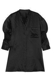 Smocked silk-satin shirt