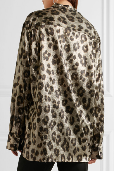 Haider Ackermann Woman Oversized Leopard-print Silk-blend Lamé Shirt Gold Size 42 Haider Ackermann