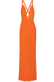 Plissé-georgette wrap gown
