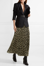 Haider Ackermann Pleated printed silk-blend lamé maxi skirt