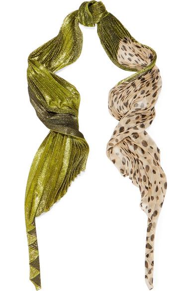 Haider Ackermann - Plissé Lamé And Polka-dot Chiffon Scarf - Leopard print