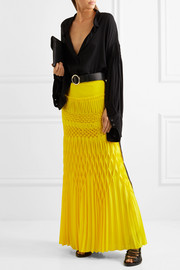 Smocked crepe maxi skirt