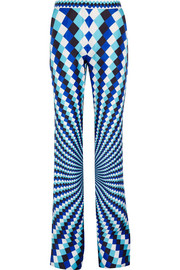 Mary Katrantzou Thoukis printed silk-twill flared pants