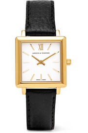 Larsson & Jennings Norse textured-leather and gold-plated watch