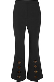 Fourth Element button-embellished crepe de chine flared pants