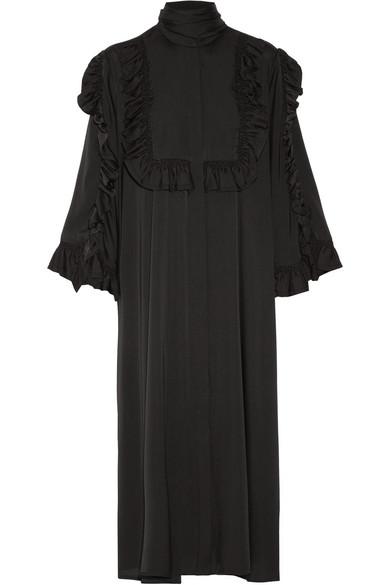 Ellery - Olga Ruffle-trimmed Stretch-silk Midi Dress - Black