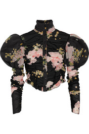 Alessandra Rich Ruched floral-print stretch-silk blouse