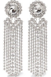 Fringed silver-plated Swarovski crystal clip earrings
