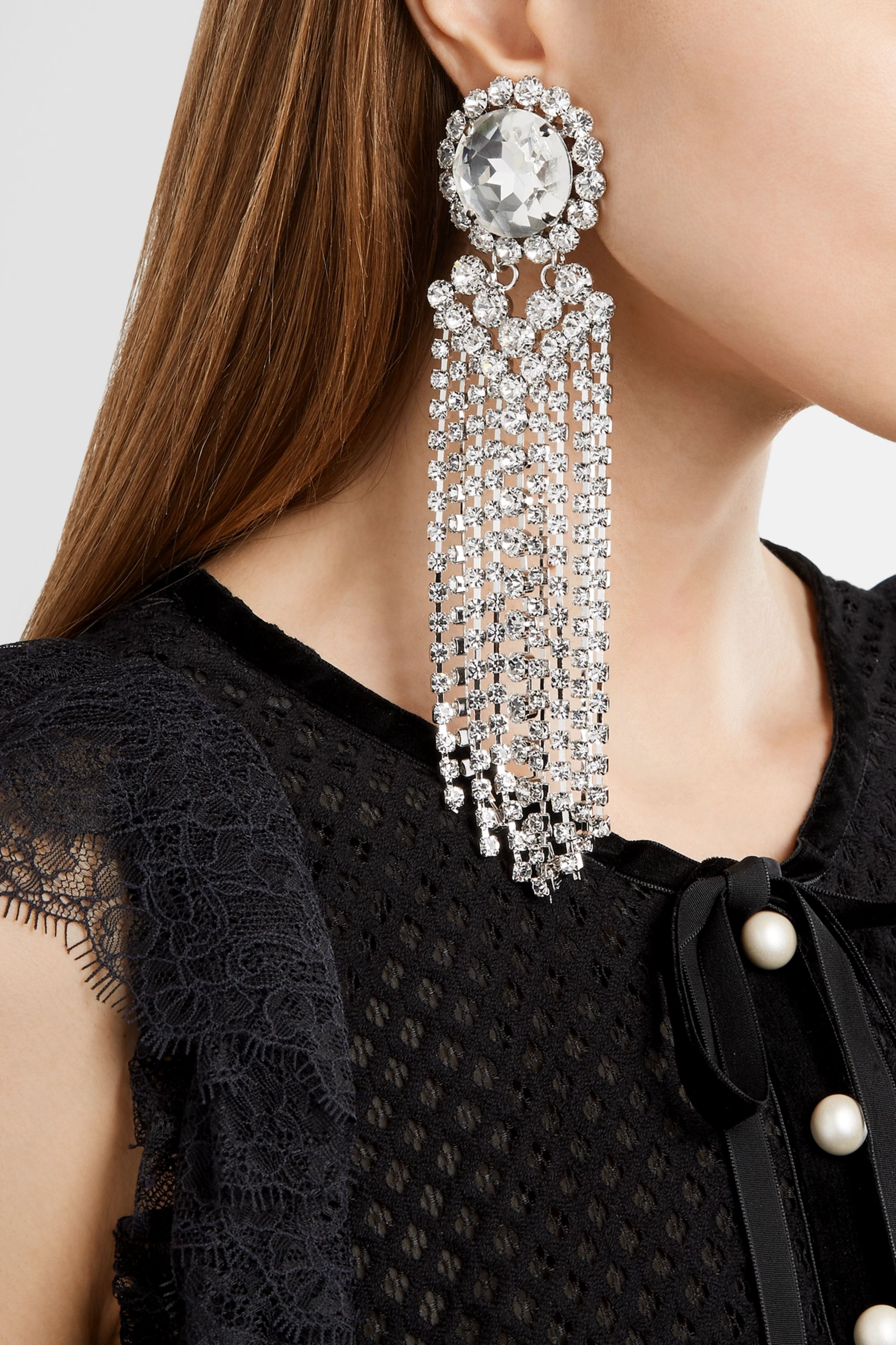 Alessandra Rich Fringed silver-plated Swarovski crystal clip earrings