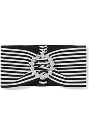 Crystal-embellished striped stretch-cotton headband