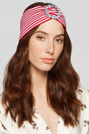 Crystal-embellished striped stretch-knit headband