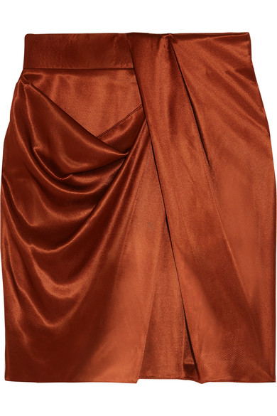 Atlein - Draped Metallic Satin Mini Skirt - Brick