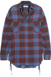 Oversized checked wool-blend shirt