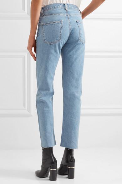 Current/elliott Woman High-rise Straight-leg Jeans Dark Denim Size 28 Current Elliott Professional Cheap Online Cheap Low Shipping XJfPyBh939