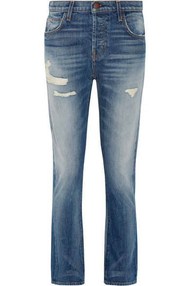 Current/Elliott - The Slouchy Cropped Distressed Jeans - Mid denim