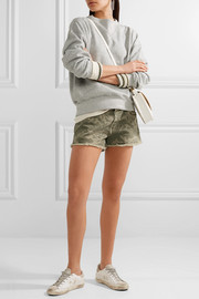 The Boyfriend frayed camouflage-print denim shorts
