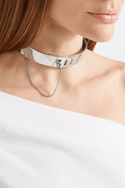 Safety Chain rhodium-plated choker