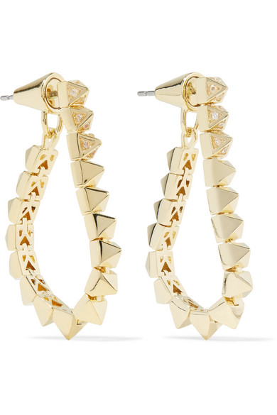 Eddie Borgo - Tennis Link Gold-plated Crystal Earrings - one size