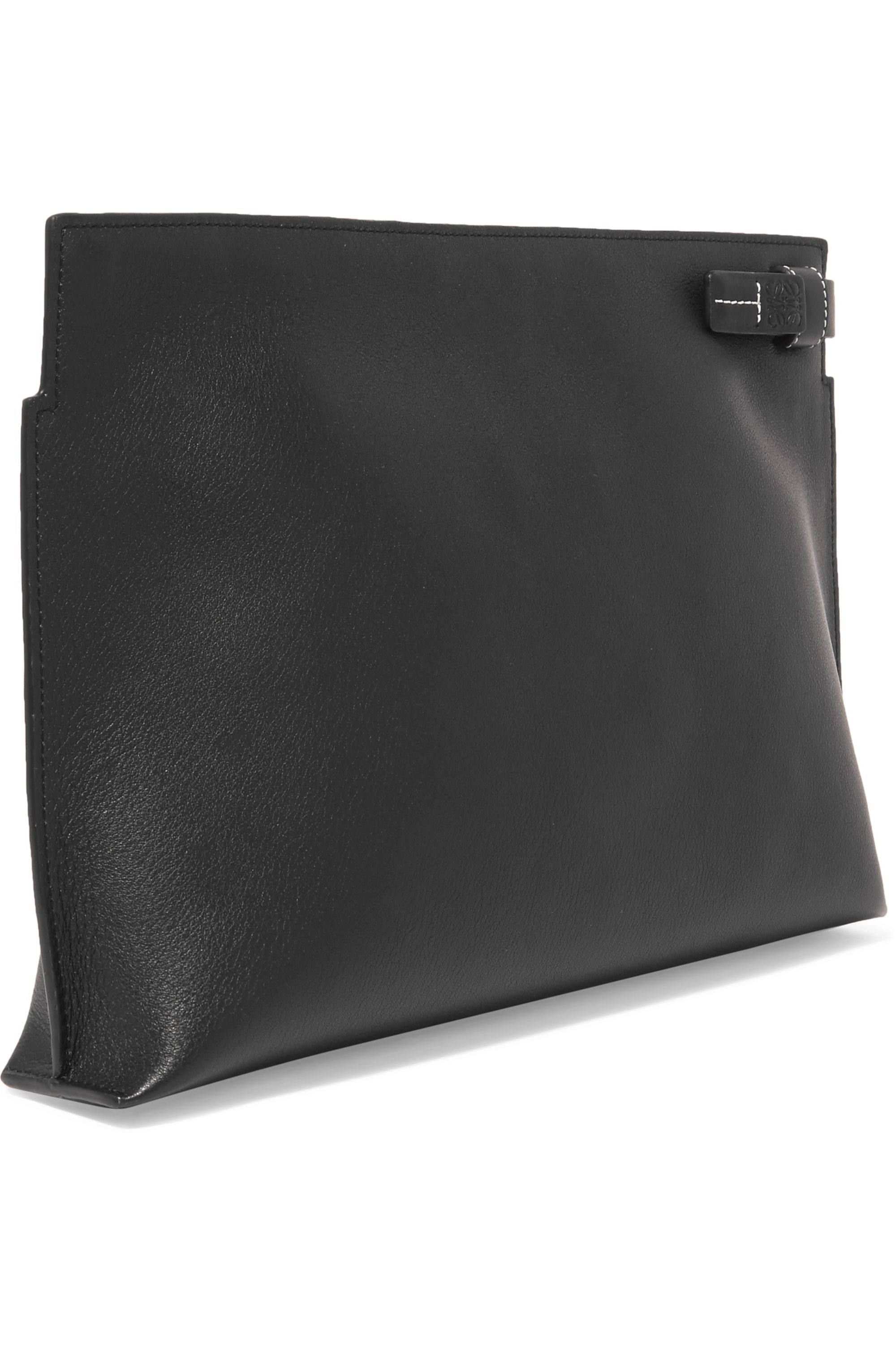 Loewe T printed textured-leather pouch
