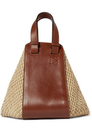 Loewe Hammock leather and raffia tote