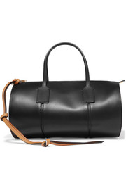 Barrel leather tote