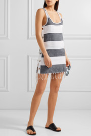 Koza Lebron fringed striped cotton mini dress