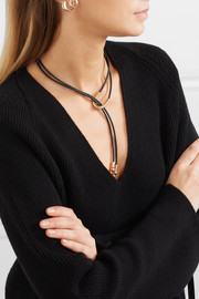 Lasso leather and gold-tone necklace