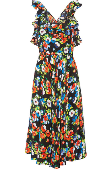 MSGM - Ruffled Floral-print Silk Midi Dress - Tomato red