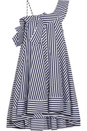 MSGM One-shoulder ruffled striped cotton mini dress