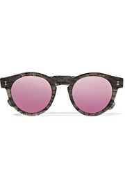 Leonard round-frame glittered acetate mirrored sunglasses