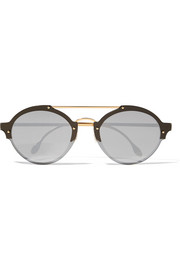 Illesteva Malpensa round-frame acetate and gold-tone mirrored sunglasses