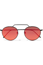 Illesteva Wynwood II round-frame metal mirrored sunglasses