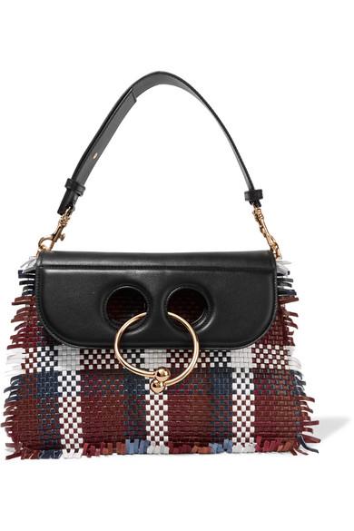 J.W.Anderson - Pierce Medium Woven Leather Shoulder Bag - Black