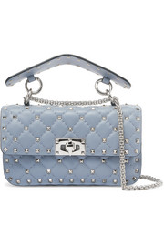 Matelassé small embellished quilted leather shoulder bag