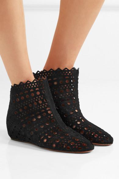 Ala 239 A Laser Cut Suede Wedge Ankle Boots Net A Porter Com