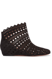 Laser-cut suede wedge ankle boots