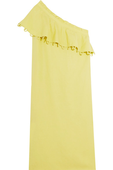 Reina ruffled one-shoulder Tencel and linen-blend midi dress