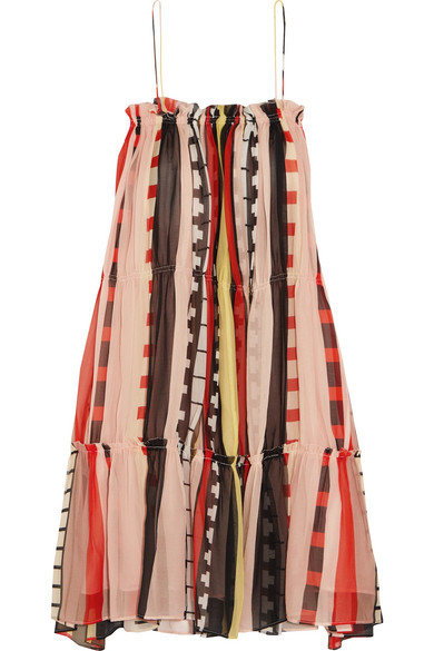 APIECE APART - Dafni Striped Silk Dress - Orange