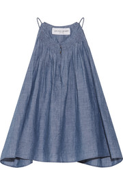 Galisteo smocked cotton-chambray top