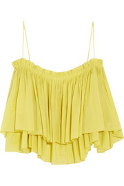 Sanna cropped ruffled cotton camisole