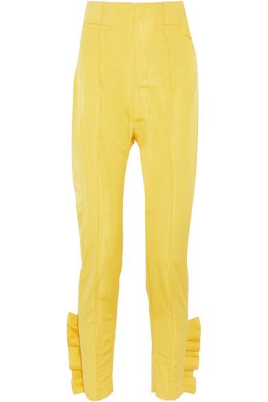 Cropped ruffled silk-moire slim-leg pants