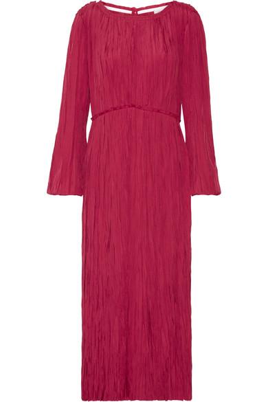 Lemaire - Pleated Satin Midi Dress - Crimson