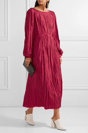 Pleated satin midi dress