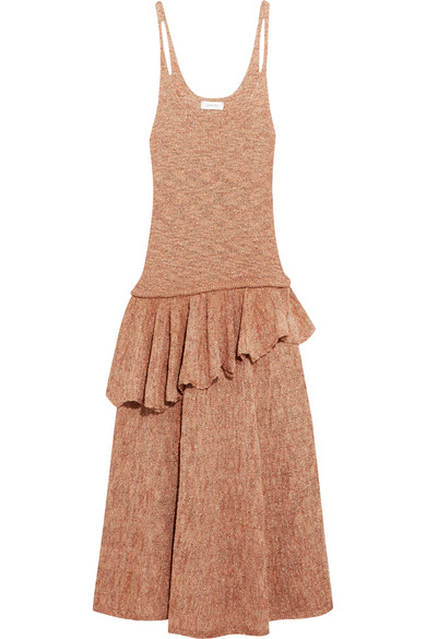 Lemaire - Ruffled Knitted Midi Dress - Blush