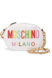 Moschino Printed leather shoulder bag