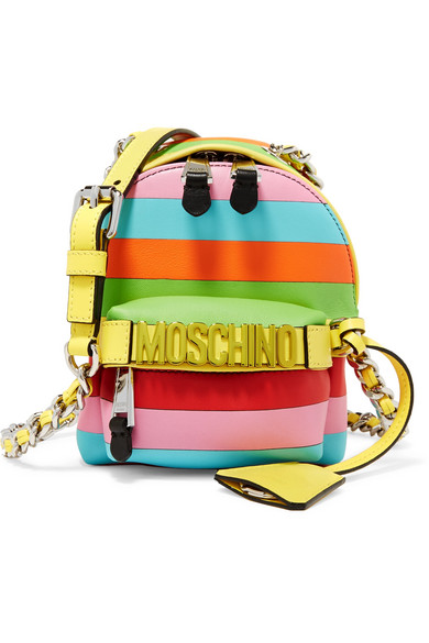 Moschino - Mini Embellished Striped Leather Shoulder Bag - Pink