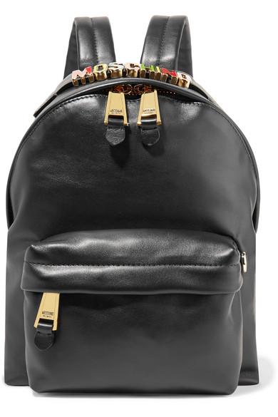 Moschino - Embellished Leather Backpack - Black