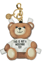 Moschino Printed textured-leather keychain