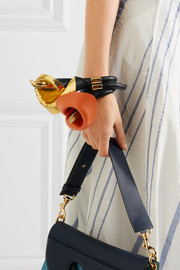 Loewe Calla gold-tone, leather and suede bracelet