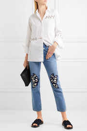 Flutter embroidered high-rise straight-leg jeans